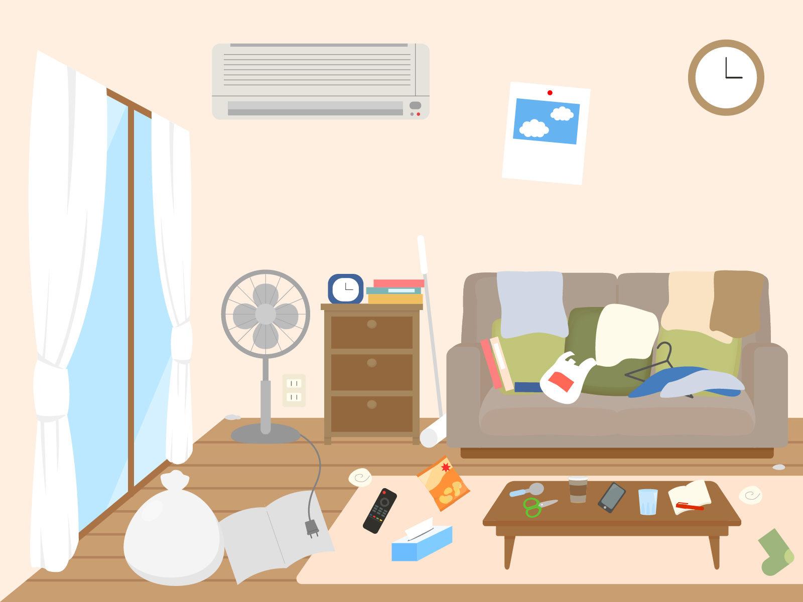 写真:散らかった部屋